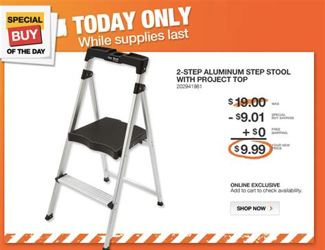 home depot daily deal 2 step aluminum stool foldable