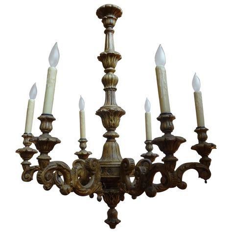 Chandeliers Wood Antique Italian Six Arm Carved Wood Chandelier For Sale At