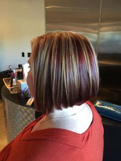 neckline hairstyles with highlights lowlights trendy short haircut soft neckline crimson lowlight with