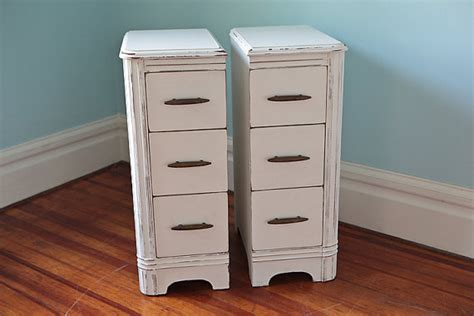 10 Wide Nightstand Narrow Pair Nightstand S Shabby Chic White Cottage Antique
