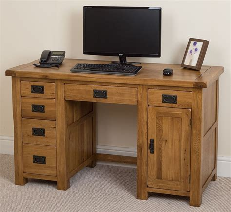 oak wood computer desk cotswold solid oak rustic wood pc computer desk home