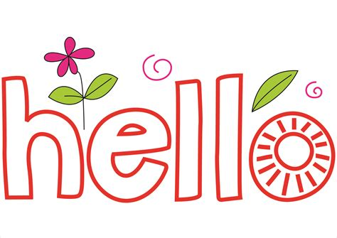 word clip hello clipart the word pencil and in color hello