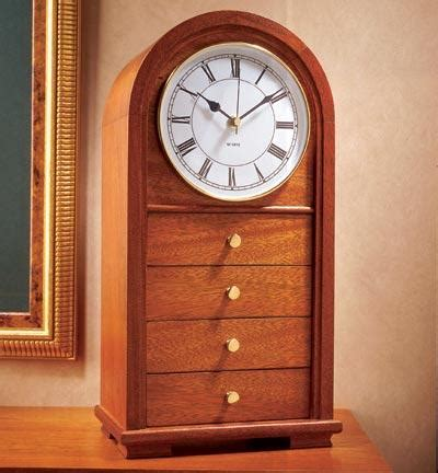 arched top clock  drawers wood magazine