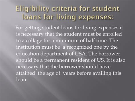 Mba Loans For Living Expenses by Student Loans For Living Expenses
