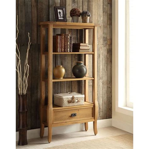 linon home decor linon home decor santa fe antique pine open bookcase