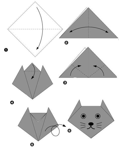 Origami Chat - r 233 alisation d une t 234 te de chat en origami origami day