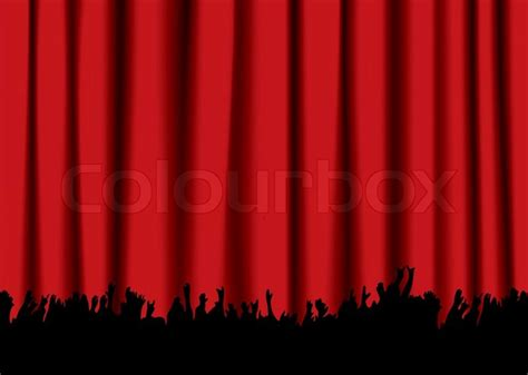 curtain eminem red velvet concert stage curtain and silhouette of crowd