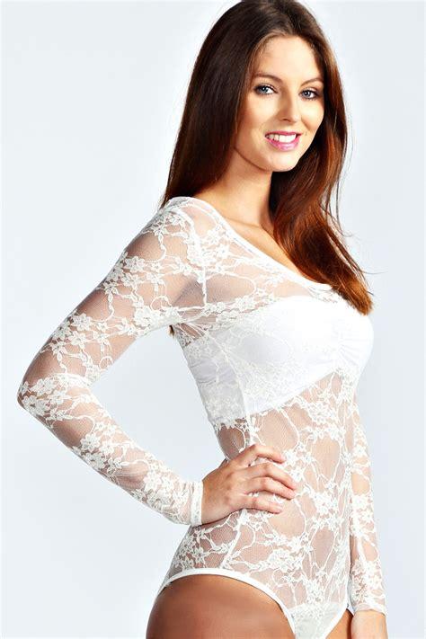 boohoo womens tara lace sleeve bodysuit ebay