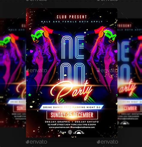 18 Neon Party Flyer Templates Free Psd Vector Eps Png Downloads Neon Flyer Template Free