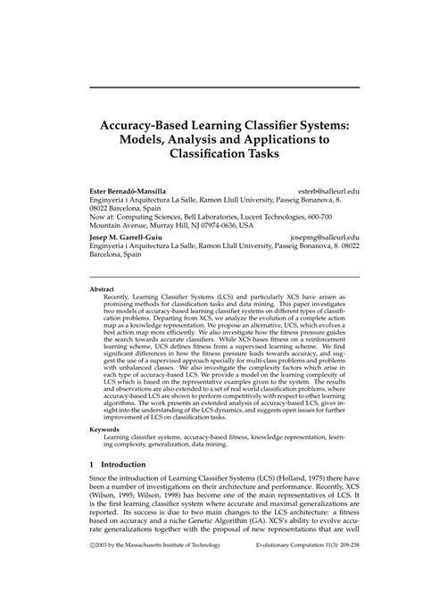 (PDF) Accuracy-Based Learning Classifier Systems: Models