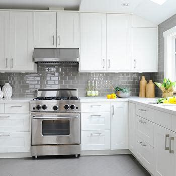 Tile Under Kitchen Cabinets by Kitchen With Gray Subway Tiles Design Ideas