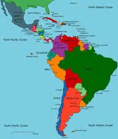 a map of central and south america with the countrys from