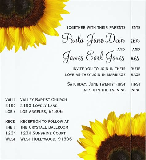 20 Sunflower Wedding Invitation Templates Free Sle Exle Format Download Free Sunflower Stationery Template