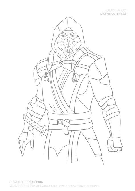 How to Draw Scorpion from Mortal Kombat 11 | Step-by-step