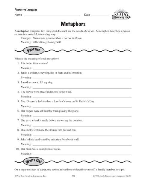 Metaphors Worksheets by Metaphors Education World