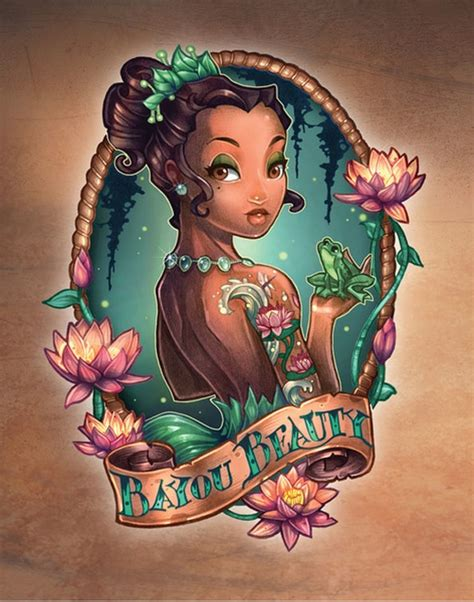 disney princesses illustrated as pin up girls with