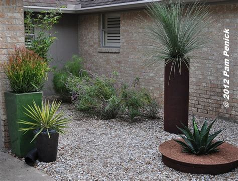rock garden with potted plants foundation plants for foliage follow up diggingdigging