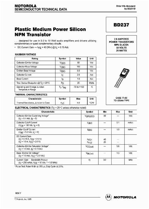 datasheet transistor npn 9013 bd237 203638 pdf datasheet ic on line