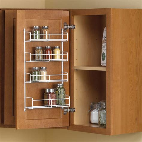 Kitchen Cabinet Door Organizer Real Solutions For Real 11 25 In X 4 69 In X 20 In Door Mount Spice Rack Cabinet