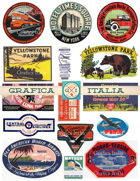 printable travel stickers 15 large usa travel stickers retro digital printable