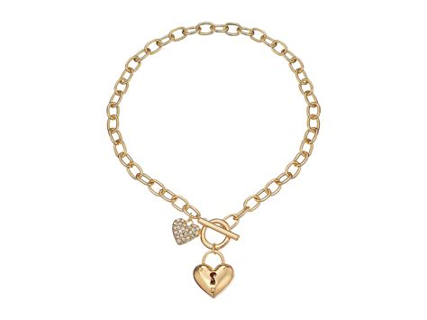 GUESS Puffy Heart Toggle Necklace Gold   Zappos.com Free Shipping BOTH Ways