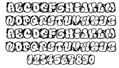 grafiti   graffiti buble fonts letters design