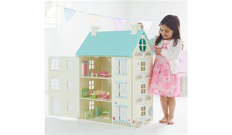 light up doll house george home wooden light up dolls house kids george at asda