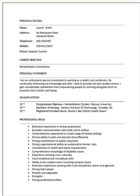 curriculum vitae layout nz cv formats and exles