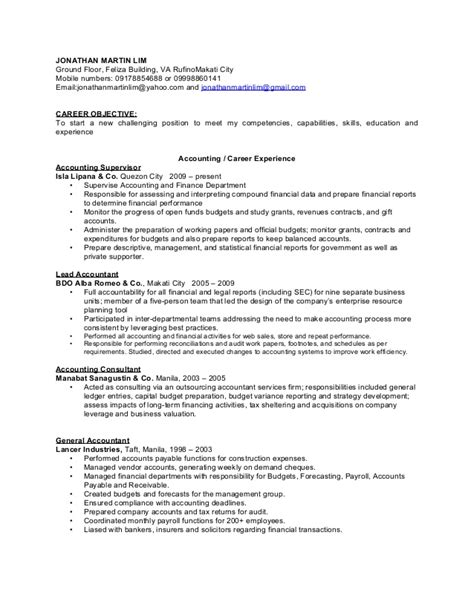 Resume Sles For Accounting And Finance Accounting And Finance Resume