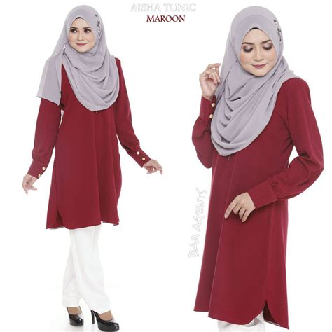 Tunik Blouse Muslim Lamia 3in1 blouse muslimah raya aisha maroon saeeda collections