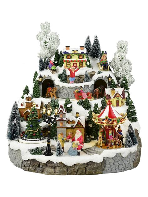 animated christmas village with train illuminated animated musical snowy hillside 33cm ornaments the