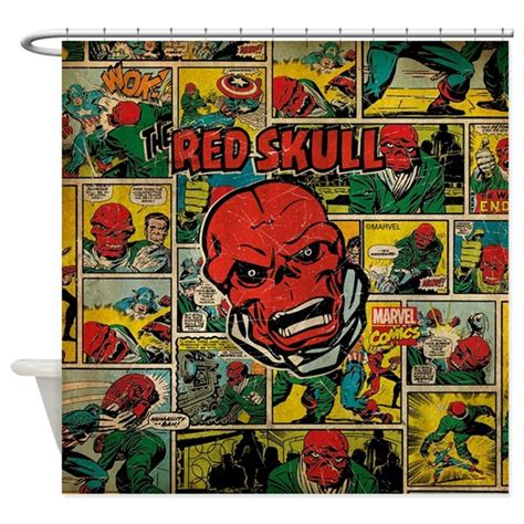 marvel comic curtains marvel comics red skull retro shower curtain by marvelcomics