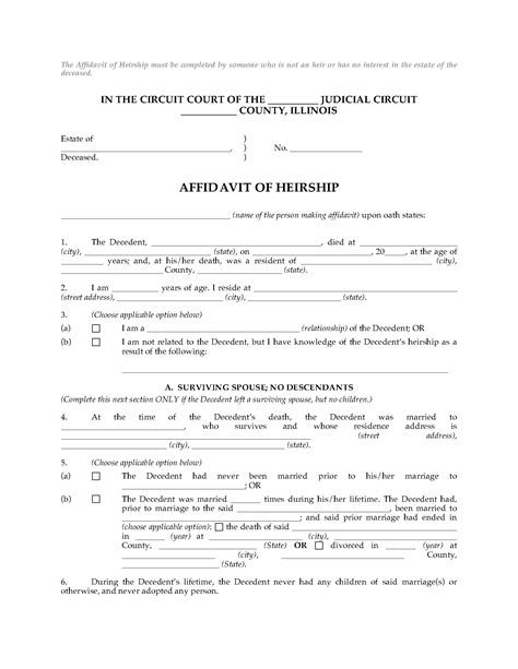 Illinois Affidavit Of Heirship Legal Forms And Business Templates Megadox Com Affidavit Of Heirship Template