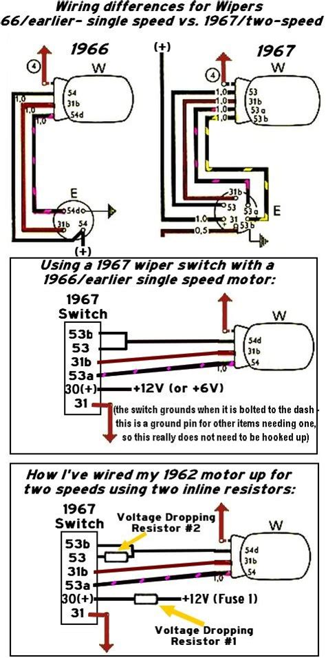 thesamba gallery wiper wiring 1967 2 speed vs