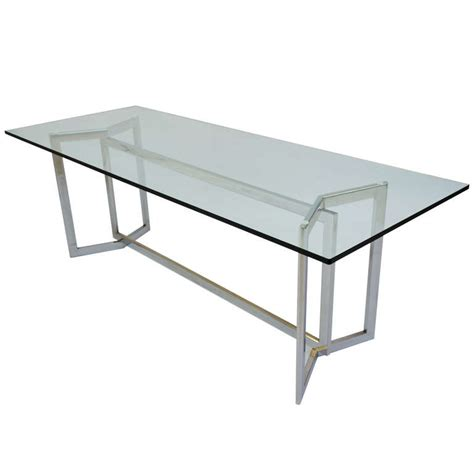 Dining Table Steel Base Italian Design 1970 S Glass And Steel Base Dining Table Modernism