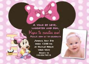 baby minnie 1st birthday invitations drevio invitations design