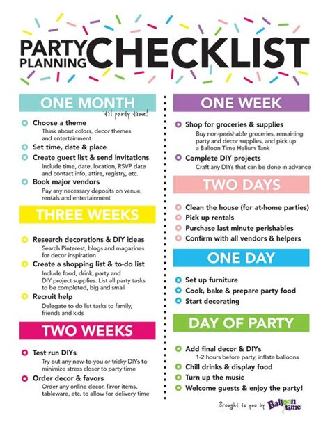 birthday party planning sheet everything i need on one party planning checklist balloon time retirement party