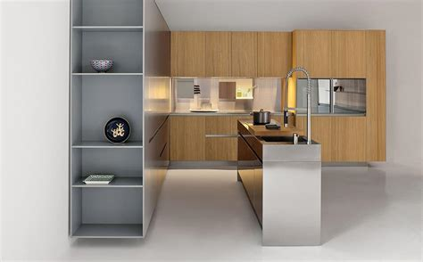 sleek kitchen cabinets sleek kitchen island in stainless steel with shelves and