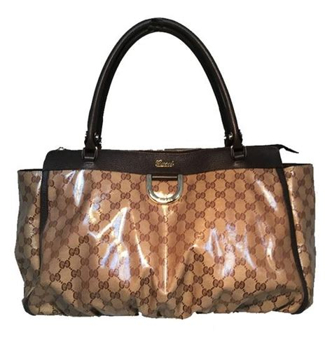 gucci monogram canvas ruched bottom brown tote bag totes