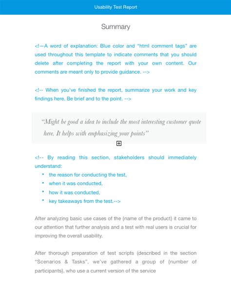 usability test report template usability testing report and other templates for usability