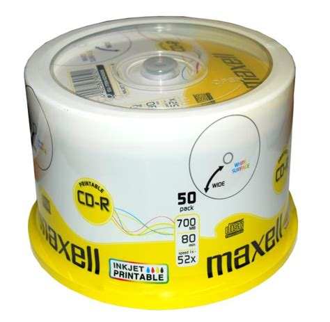 Cd R Maxell Spindel Isi 50 100 maxell rohlinge cd r printable 80min 700mb 52x