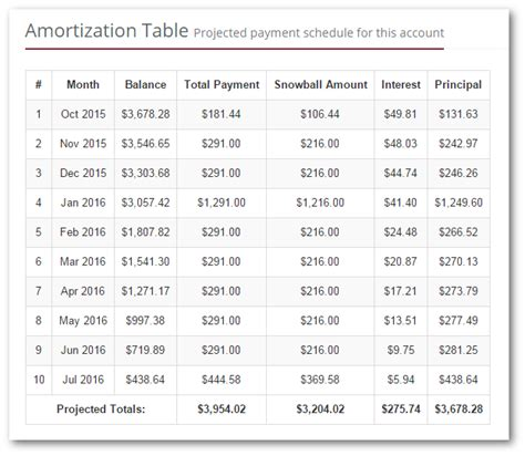 Amoritization Table by Individual Account Amortization Table
