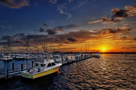 boat house marina sunset over stuart marina florida