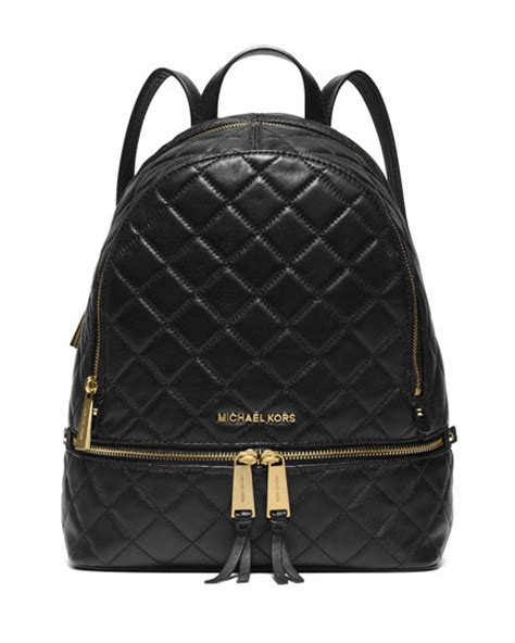Quilted Back Pack by Michael Michael Kors Rhea Medium Quilted Backpack Black