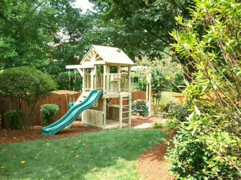 Playsets For Small Backyards by Backyard Playground Crafted Wooden Playsets Swing