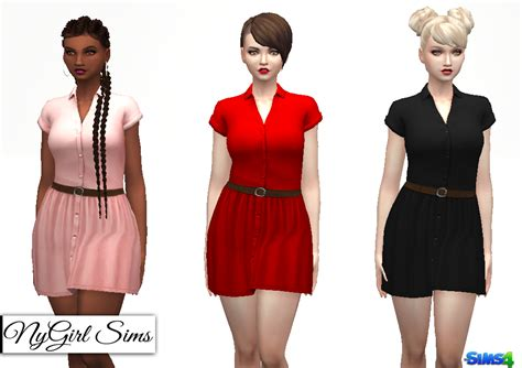 Button 4 Dress Nygirl Sims 4 Collared Button Dress With Belt