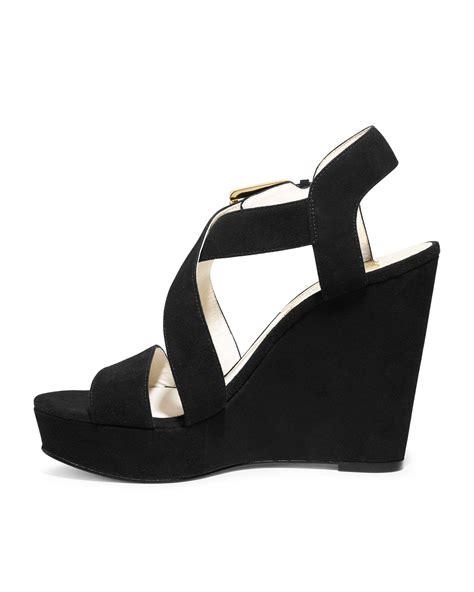 michael kors giovanna wedge sandal michael kors michael giovanna suede wedge sandal in black