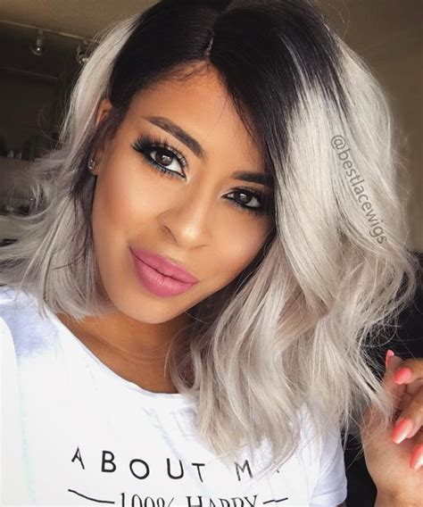 hair color grey in front popular grey bob lace wigs short straight hair virgin