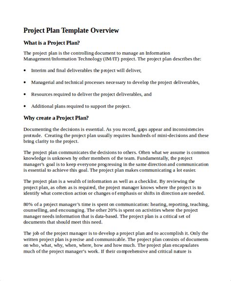 project management plan template doc sle it project plan template 6 free documents