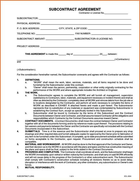 subcontracting contract template subcontracting contract template sletemplatess